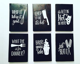 Set of 6 Funny Kitchen Signs | Kitchen Signs | Kitchen Decor | Wooden Kitchen Signs | Kitchen | Housewarming Gift