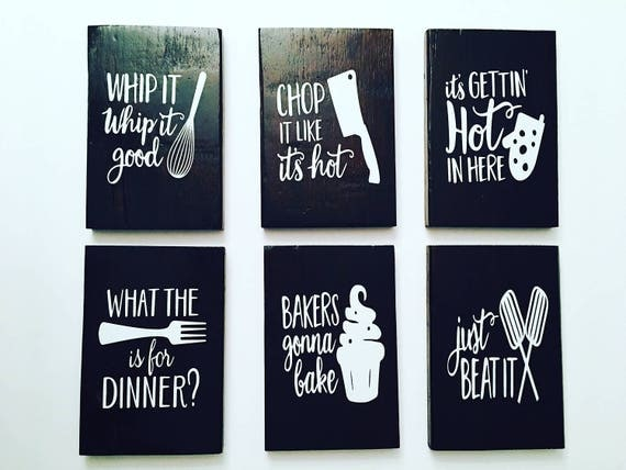 Set of 6 funny kitchen signs kitchen signs kitchen decor for Funny kitchen set