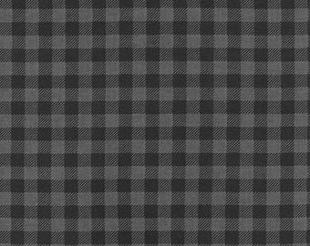 Black and Gray Plaid Fabric from Burly Beavers by Andie Hanna - Robert Kaufman. Grey Check Checkers - 100% cotton. AHE-15995-184 Charcoal