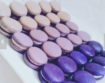 36 Purple Ombre French Macarons