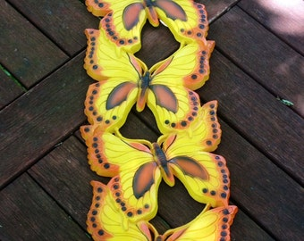 Vintage Yellow Butterfly Wall Hanging, 1970s, Butterfly Decor, Yellow Butterflies, Retro Butterflies, Butterfly Home Decor