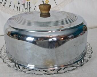 Vintage Snowflake Glass Cake Plate, Chrome and Federal Glass Cake Plate, Retro Covered Cake Plate, Dome Cake Cover  Glass Snowflake Platter