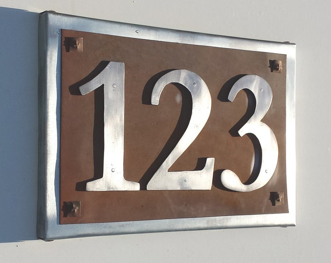 "Rustic Aluminium, copper and steel  address plaque, Garamond numbers 6"" high - a bit ranchy"