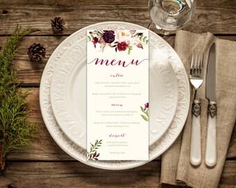 DIY Printable Watercolour Floral Wedding Menu | Burgundy and Green Woodland Theme Colour Palette | Modern Handwritten Calligraphy Script