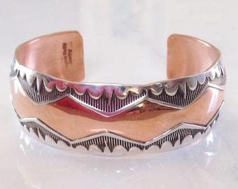 Native American  Navajo Sterling Silver Brushed Copper Bracelet Signed Douglas Etsitty