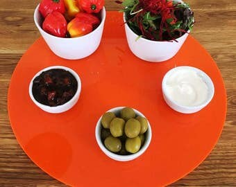 Round Large Placemats / Serving Mat / Table Protector - Orange Gloss 3mm Acrylic
