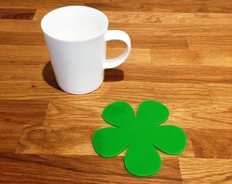 Daisy Shaped Bright Green Gloss Finish Acrylic Coasters