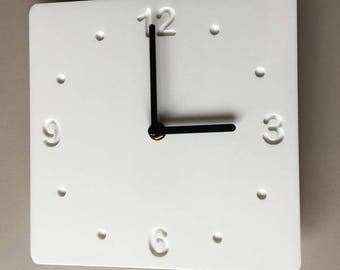 Rounded Corner Square White & White Clock - White Acrylic Back, Gloss Finish Acrylic with White hands, Silent Sweep Movement