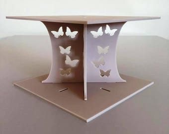 """Butterfly Square Latte Beige Mat Acrylic Cake Pillars/Cake Separators, for Wedding/Party Cakes 10cm 4"""" High, Size 6"""" 7"""" 8"""" 9"""" 10"""" 11"""" 12"""""""