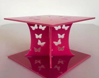 """Butterfly Square Pink Gloss Acrylic Cake Pillars/Cake Separators, for Wedding/Party Cakes 10cm 4"""" High, Size 6"""" 7"""" 8"""" 9"""" 10"""" 11"""" 12"""""""