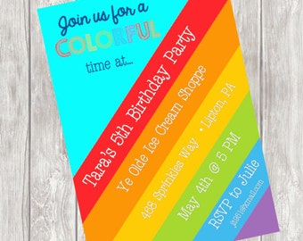 Rainbow Birthday Invitation for Colorful Party