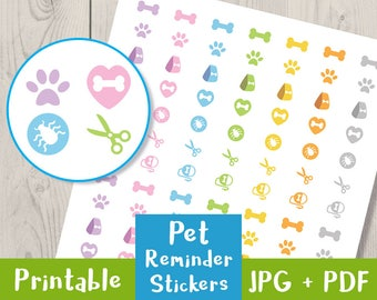 Pet Reminder Stickers, Flea + Tick Stickers, Grooming Reminder, Vet, Dog Reminder, Cat, Printable Planner Stickers, Life Planner + Others