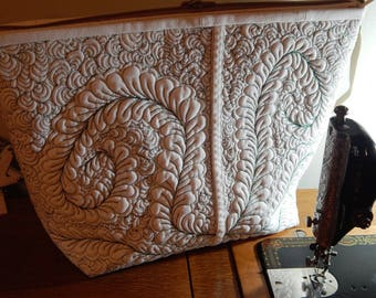 Quilted White Denim Bag