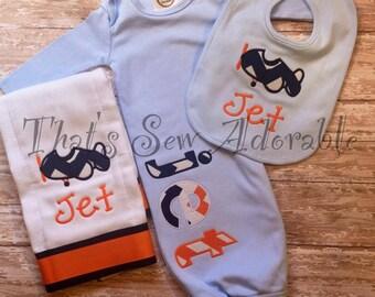 Airplane Baby Set-Bib, Burp cloth and Gown-Customizable