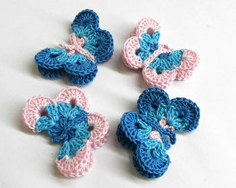 "Butterfly Appliques, 2"" wide, 4 pc., blue pink mix"