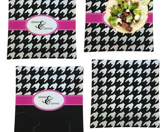 Houndstooth w/Pink Accent Set of 4 - Square Dinner Plates (Personalized)