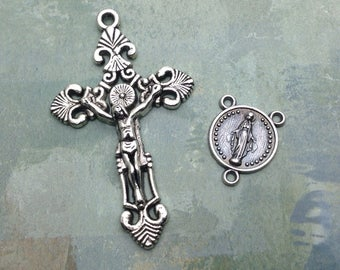 Rosary Medals Set / Ornate Crucifix and Medal of the Immaculate Conception Centerpiece / Antique Silver Rosary Parts