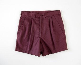 Vintage Shorts // Men's Plum Preppy Pleat Short