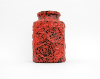 Vintage Relief Vase // West Germany Pottery // West German Red Texture Vase