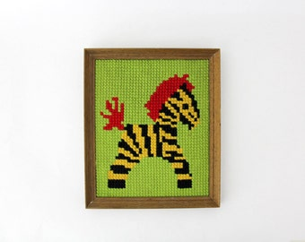 Vintage Zebra Needlepoint Art // Wood Frame Needlepoint Artwork // Colorful 70's Framed Childs Room Decor