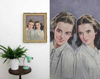 Vintage painting // 46cmx36cm framed portrait of two girls