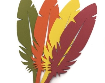 """36 - Paper Feathers - 5"""" Paper Die Cut - fall autumn - bird feathers - Thanksgiving Decor - Place Cards -  boho theme - party decor"""