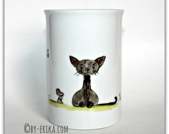 Cat mug porcelain mug