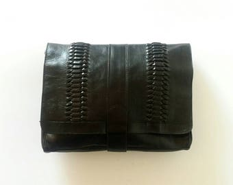Black leather clutch, 1990s leather clutch, Italian leather handbag