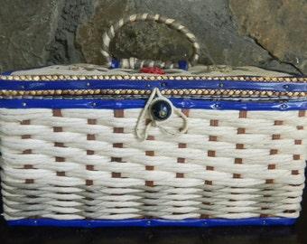 Blue Sewing Basket, Retro Sewing Basket, 1950's Sewing Basket, Blue Sewing Box, Blue Woven Basket, Blue Sewing Kit, Blue Raffia Basket