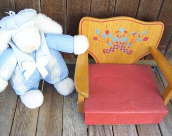 Vintage Wooden Booster Seat with Clown and Balloons Booster Chair Clown Chair Childrens Seat Irmi Seat