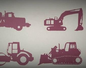 6 Construction Vehicles Wall Decal, Wall Decal, Cement Mixer, Steam Roller, Dump Truck, Excavator, Crane, Bull Dozer