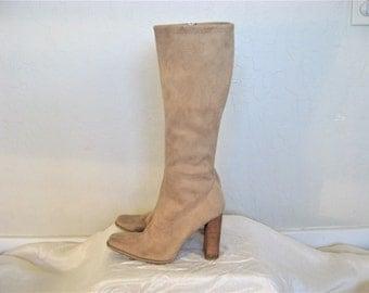Tan Beige Knee High Faux Suede Vegan Boots - size 8