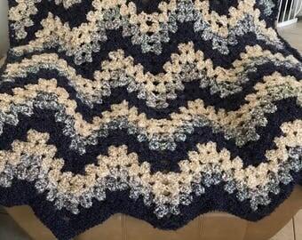 Handmade Crocheted Throw in Creams/Deep Purple and Blue Hues