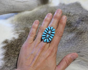 Vintage Zuni Turquoise Ring // Sterling silver and turquoise ring