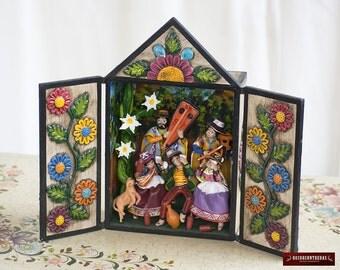 """Peruvian Miniature Diorama Box Decorations """"Festival of Huamanga"""" - Ceramic & Wood Peru retablo folk art sculpture - Peruvian Ornaments"""