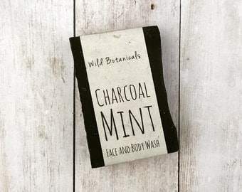 Charcoal Mint, Organic, All Natural, Scented, Vegan, Handmade, Cold Process Soap, Detox, Wildflower Seed Paper