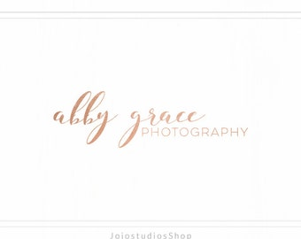 Premade Photography Logo, Rose Gold Logo, Handwritten Logo, Signature Logo, Minimal Logo, Blush Pink Logo, Makeup Logo, Simple Logo, L115