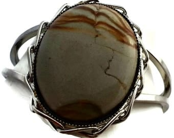 Wide Cuff Bracelet Brown Marbled Cabochon Clamper
