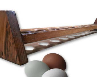 Reclaimed Wood Egg Holder Long Narrow Tray Rustic Food Organizer Storage Farmhouse Vintage Country Kitchen Decor Retail Display Foodie Gift