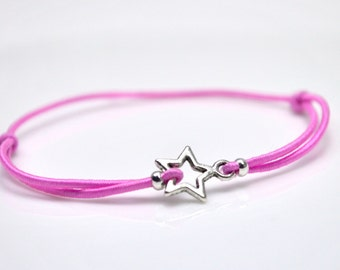 Silver star bracelet pink cord