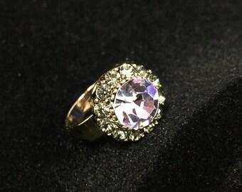 Light purple opal crystal ring