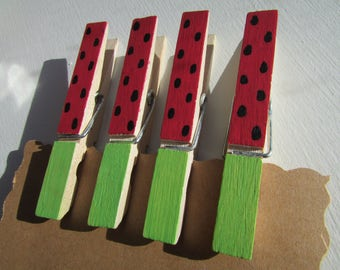 Red Watermelon Clothespins, Red Watermelon Party, Watermelon Party Decor, Watermelon Clips, Watermelon Kitchen Decor, Decorated Clothespins