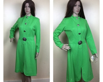 VIntage 60s Mod Dress ,Kelly  Green Secretary  , 1960s mini Space Age dress  Sm