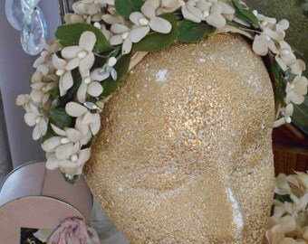 Lovely 1940-50's Orange Blossom Bridal Wedding Headband Headpiece