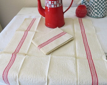 French Linen 2 Hand towels Vintage Nubby Linen Red Stripes on each side in sets of 4 stripes, thicker stripes on outside, thinner on inside