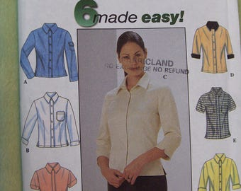 Simplicity 8872 Women's Blouse Pattern size 14 to 20