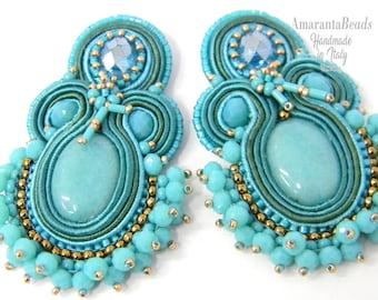 Soutache earrings Hola  soutache earrings  Light and fashionable  - handmande embroidered no glue!