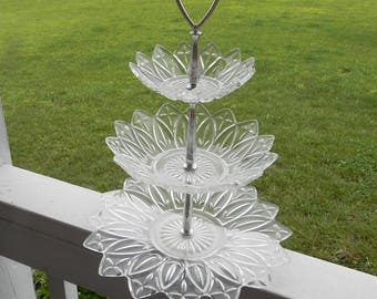 Clear Glass 3 Tiered Candy Serving Dish / Tray -  Disassembles