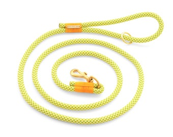 Limeade dog leash, lime green and yellow climbing rope dog leash with brass hardware in 4' and 6' lengths