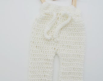 White Newborn Baby Pants Crocheted from Soft Natural Merino Wool